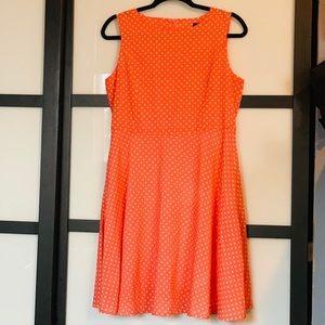 Dresses & Skirts - Orange/Salmon White Polka Dot Dress